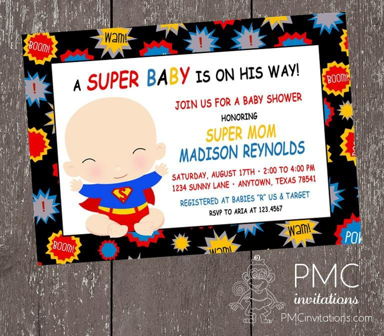 Custom Printed Superhero Baby Shower Invitations - 1.00 each with ...