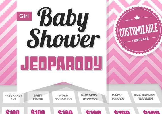 Virtual Baby Shower Game  JeoParody Template Customizable    Etsy