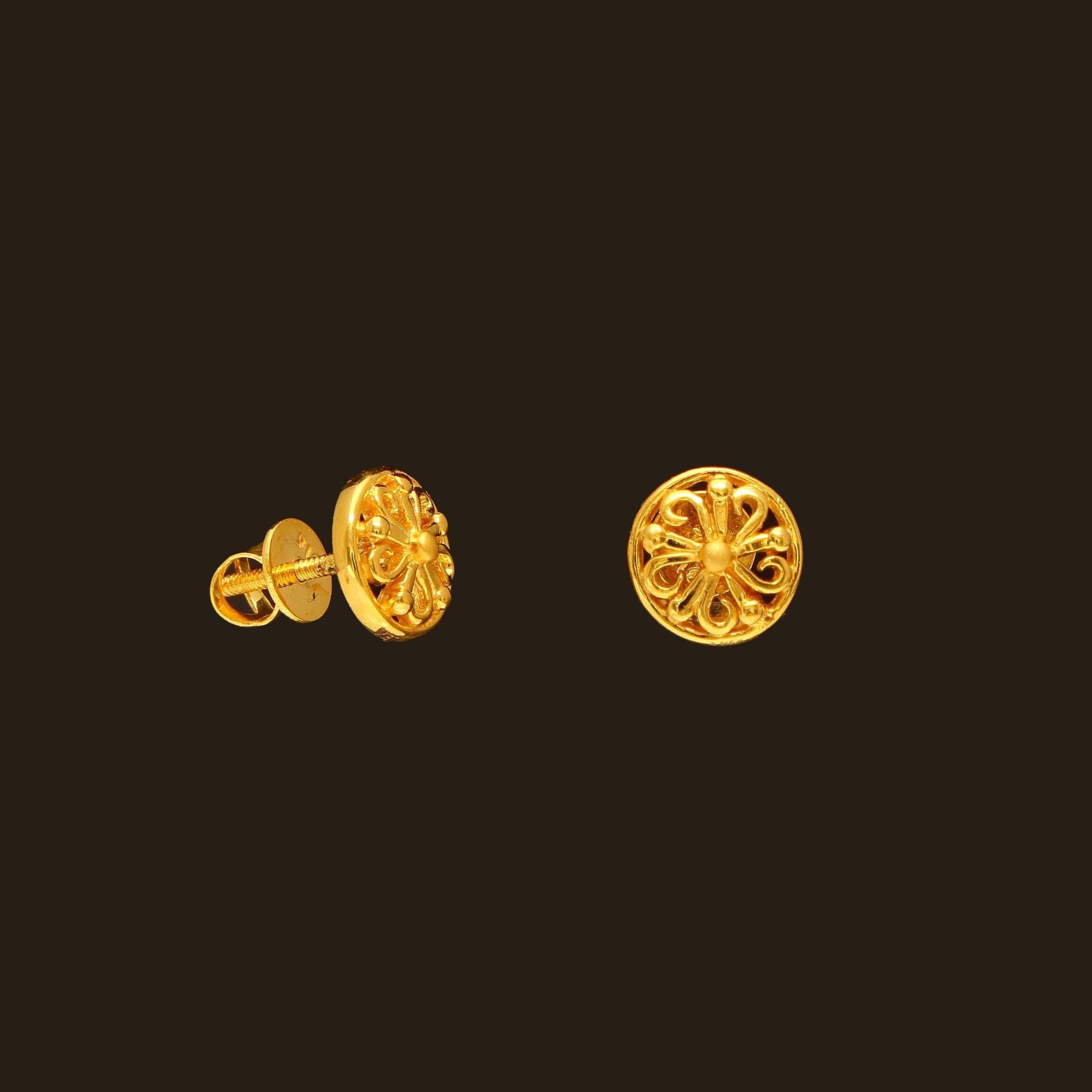 Small Gold Earrings Models Latest 22k Designs