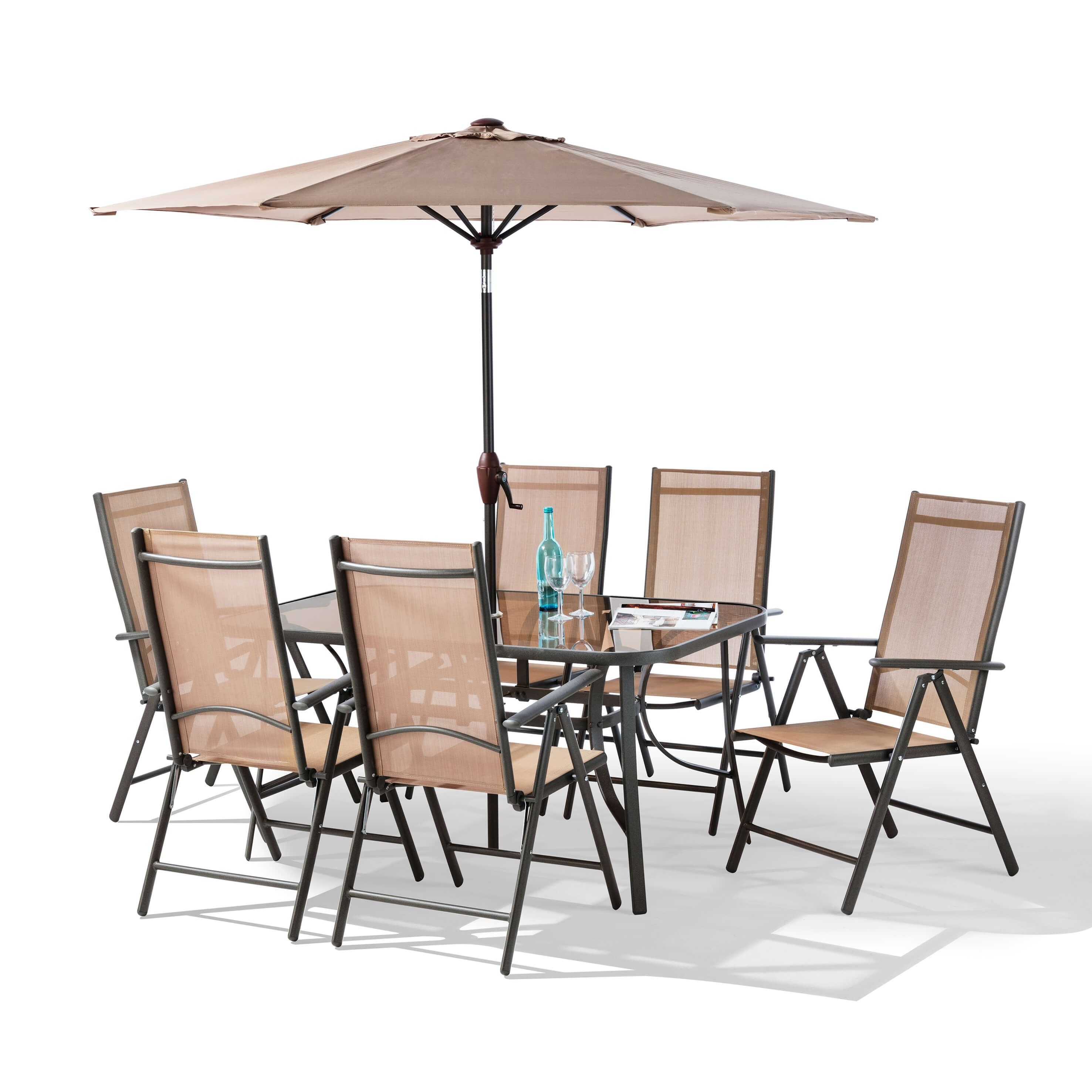 the 8 piece santorini garden patio set comes with 6 x 7 point