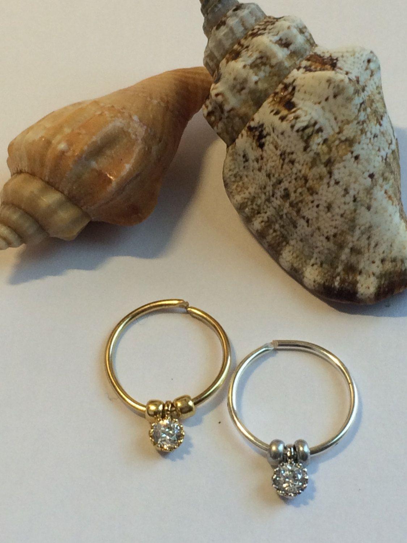 Nose piercing earrings  Cartilage earring Septum Ring Diamond CZ Earring Hoop Endless Hoop