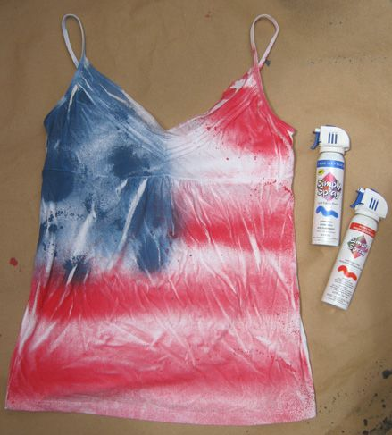 Sweater Surgery: How to transform a plain tank top for 4th of July with Simply Spray fabric paint