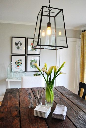 nice wooden table and light