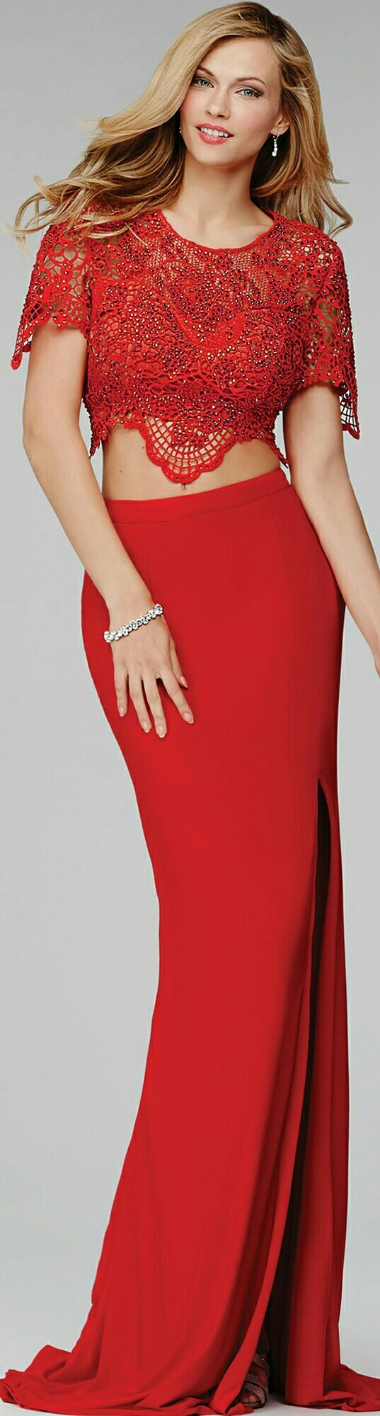 Jovani piece cardinal red prom gown faushae dress up