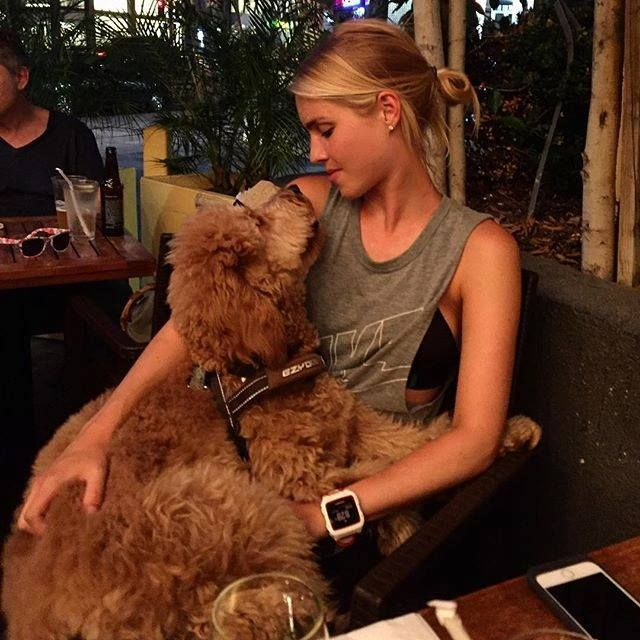 Claire Holt & her dog. Henry