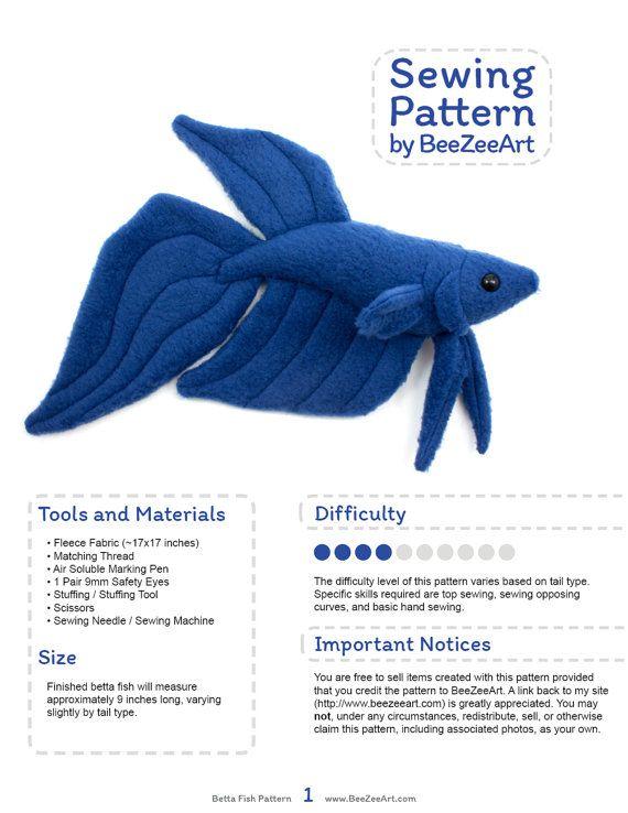 Betta Fish Sewing Pattern, PDF Pattern, Plushie Sewing Pattern, Digital Download Pattern