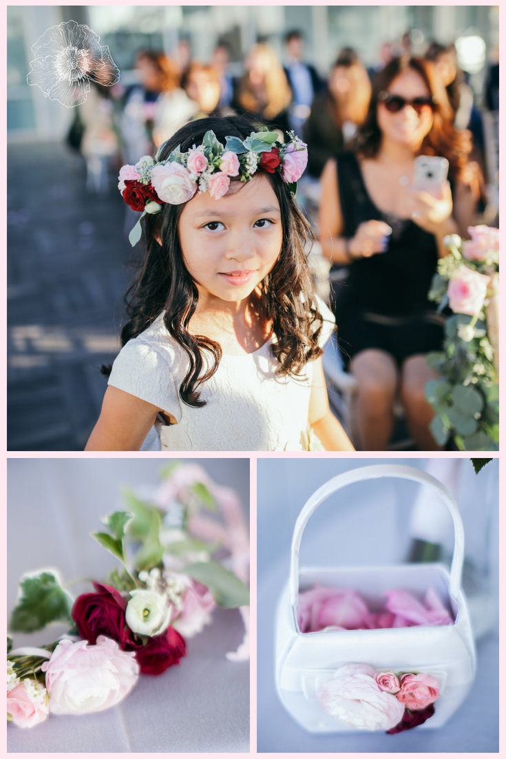 The Most Adorable Flower Girl Wearing A Romantic Flower Crown With Light Pink And Red Roses And Blush Ranunc Wedding Colors New York Wedding Bridesmaid Bouquet