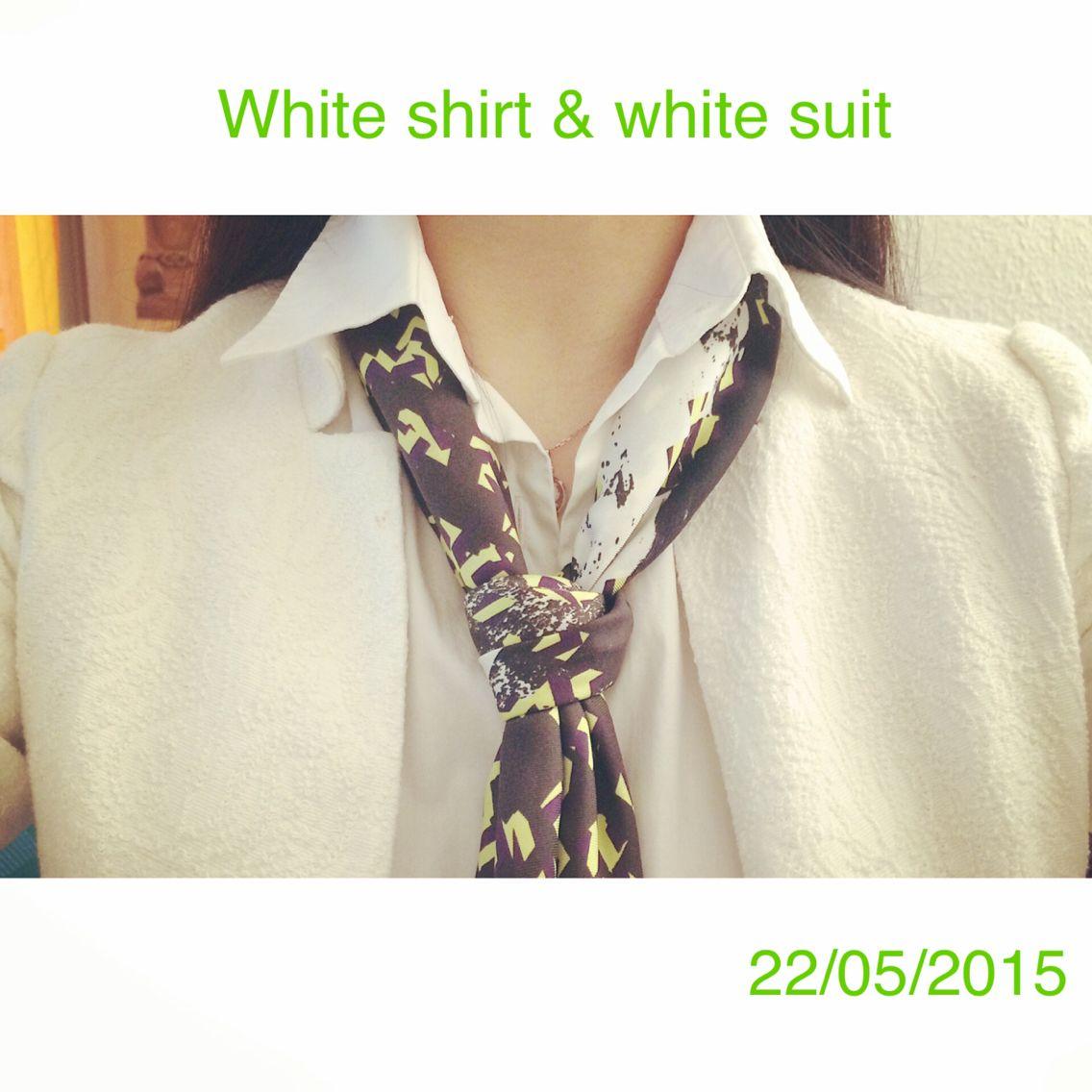 white shirt & white suit