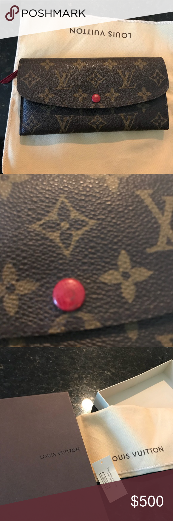 9cca594c4793 Louis Vuitton Emilie Wallet Excellent condition- only flaw is the red  button is a little bid faded but easily replaced at LV store- box and  dustbag included ...