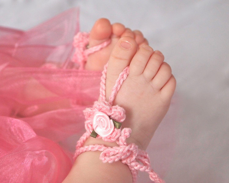 Flower Girl. Baby Barefoot Sandals, Crochet Baby Sandals, Newborn ...