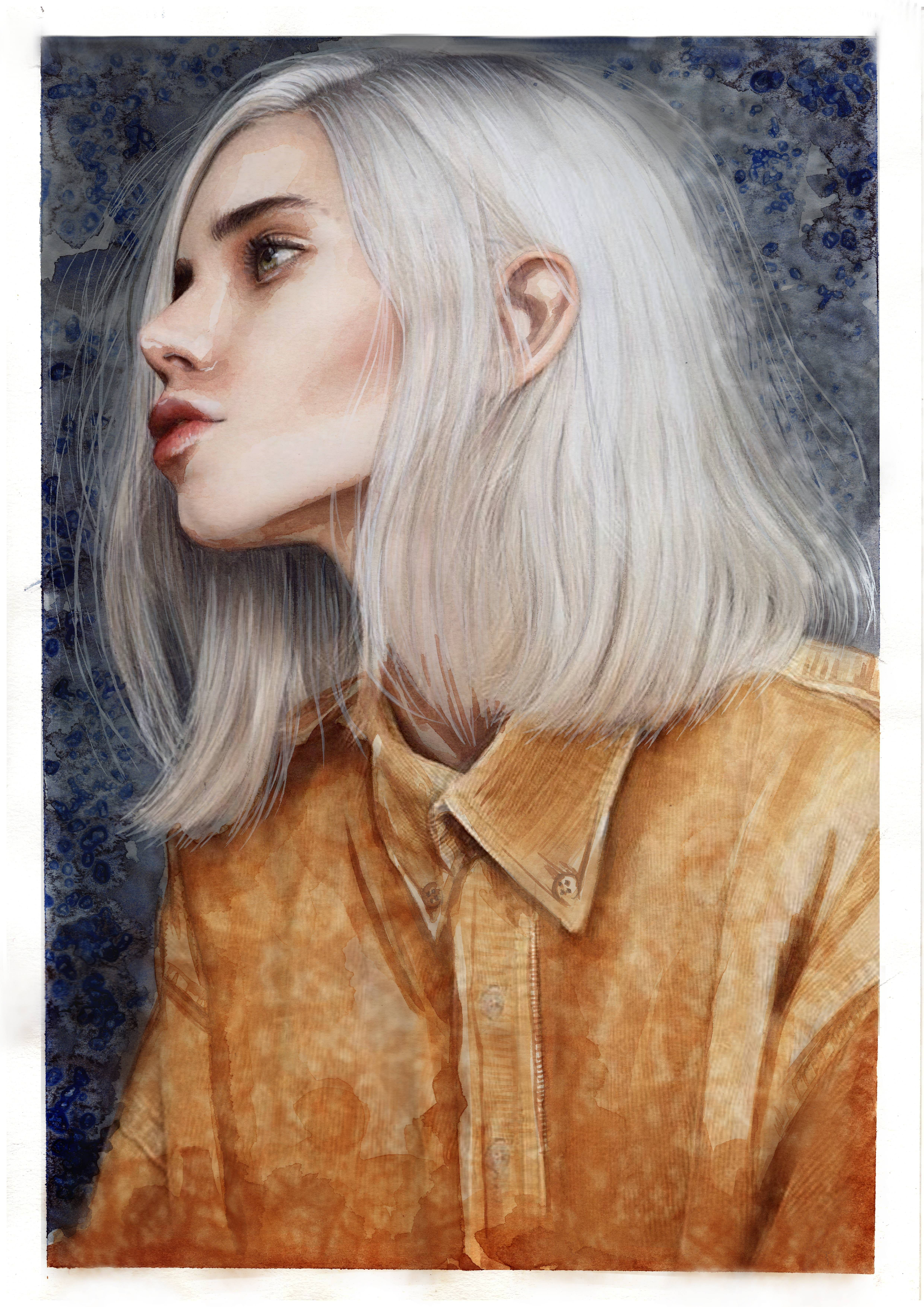 White Hair Watercolor And Whitw Ink Pen 20x30 Cm Posted By U