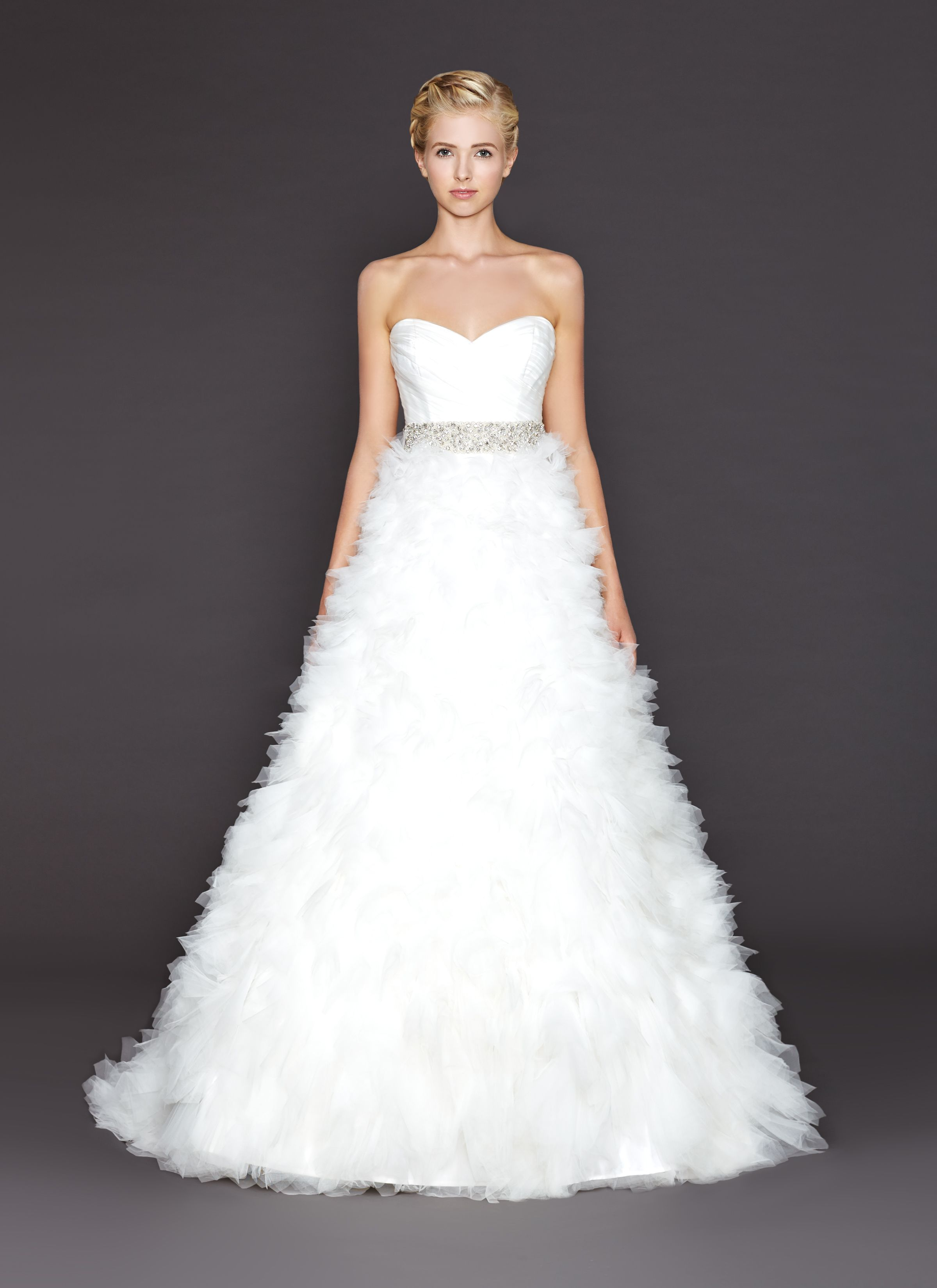 3208 - Ariana - Ball gown with layered organza skirt rushed bodice and Swarovski beaded belt at natural waistline.