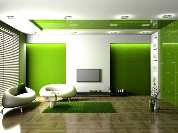 Wohnideen Wohnzimmer-ein ruhiges Gefühl durch die Farbe Grün vermitteln - wohnideen wohnzimmer farben