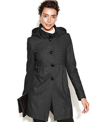 DKNY Coat, Hooded Wool-Blend Babydoll - Coats - Women - Macy's ...