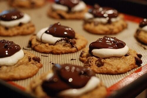 marshmallow and chocolate covered chocolate chip cookies