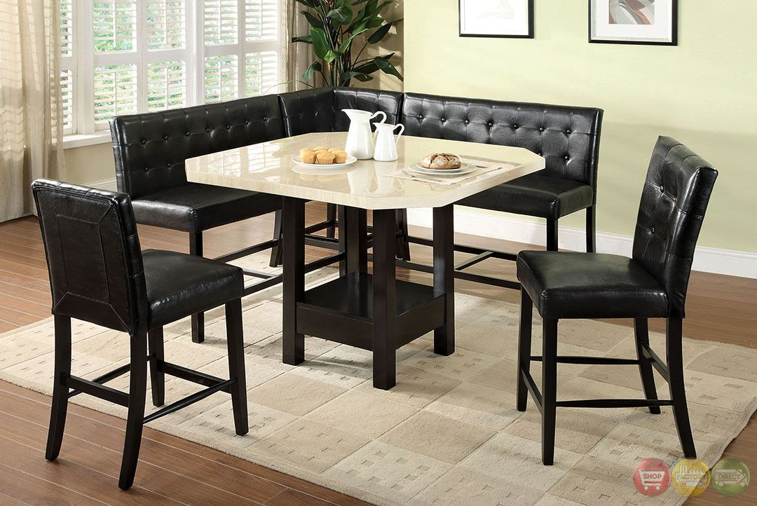 Bahamas Contemporary Black Counter Height Dining Set w/Corner Chair : counter high kitchen table sets - pezcame.com