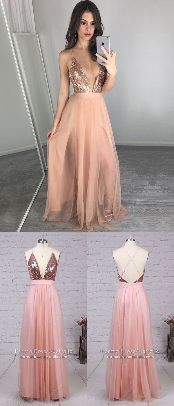Pink formal dresses sequined long prom dresses with slit a line