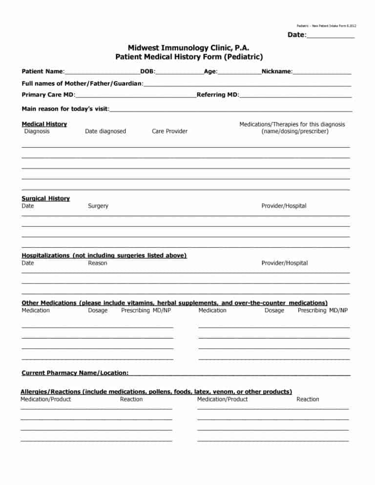 67 Medical History Forms [Word, PDF in 2020 Medical