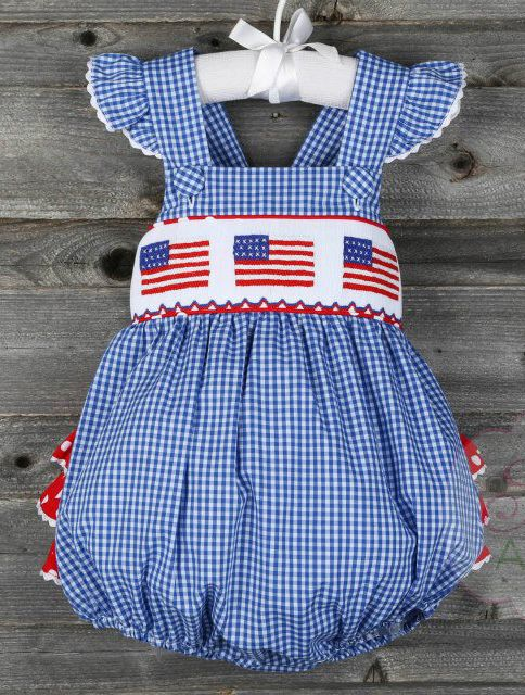 d3da42635b4 Smocked Flag Ruffle Bubble from Smocked Auctions