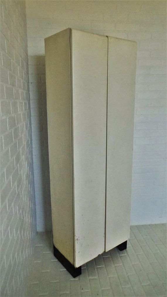 vintage steel double door storage cabinet locker mid century kitchen pantry