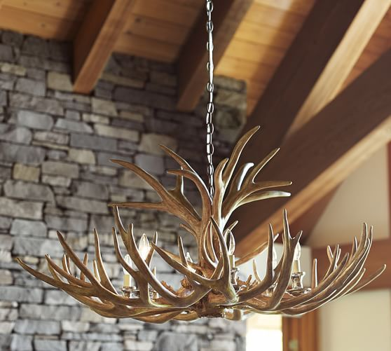 Faux antler chandelier