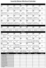 graphic relating to Insanity Workout Schedule Printable named Madness Exercise Calendar Health Madness exercise
