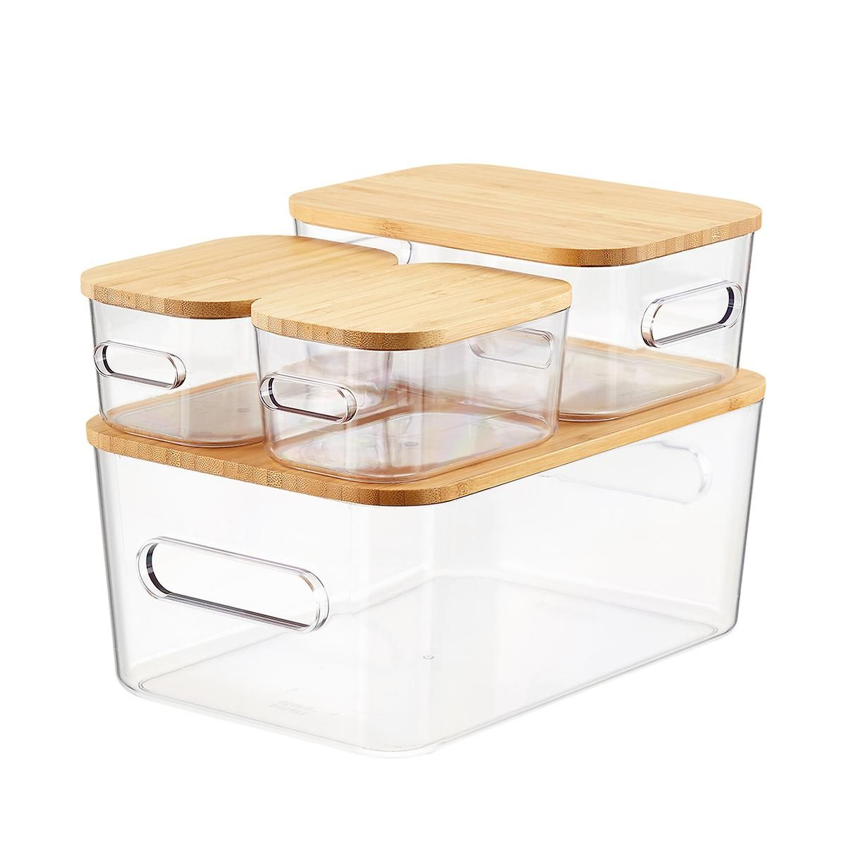 Smart Store Clear Compact Plastic Bins 4 Pack With Bamboo Lids Plastic Bins Container Store Plastic Storage Bins