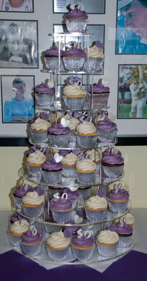 Silver Purple Cream 50th Birthday Cupcakes Cupcake Towers