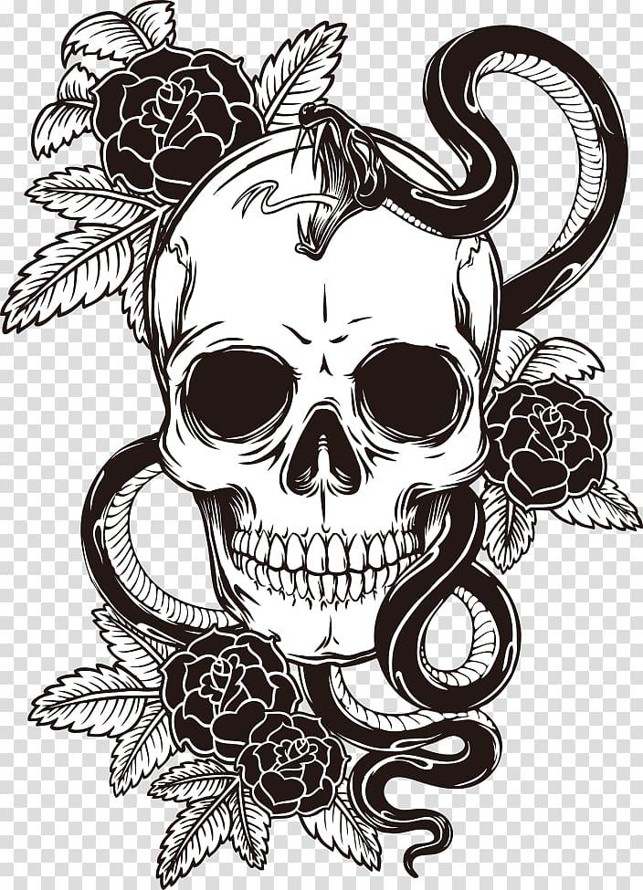 White And Black Floral Skull And Snake Sleeve Tattoo T Shirt Skull Skull Print Transparent Background Png Cli Skulls Drawing Skull Sketch Skull Illustration