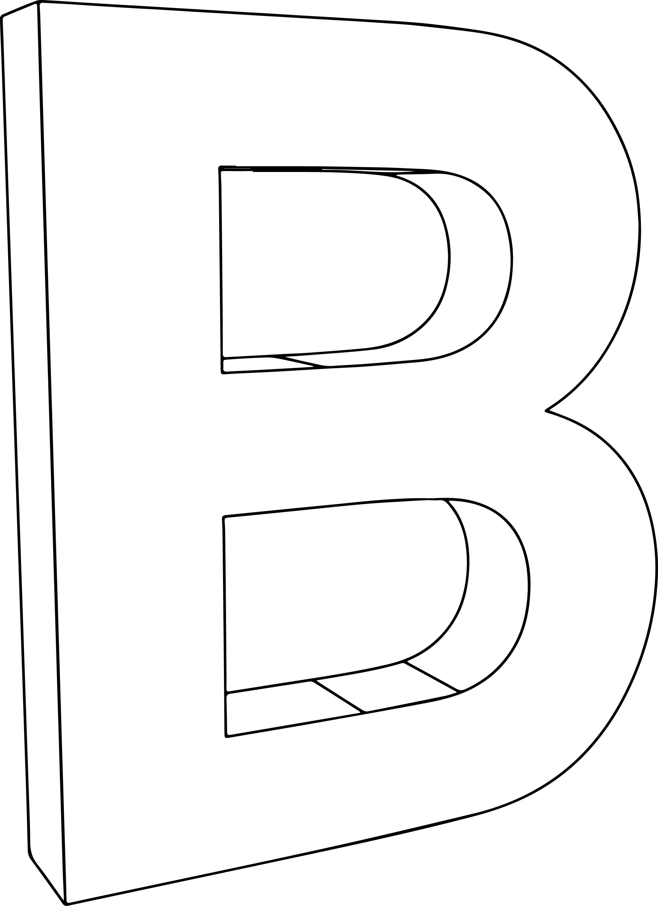 Nice 3d B Character Letter Coloring Page