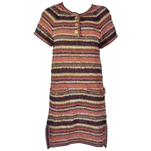 0751921d4a Preowned Chanel 2018 Resort Runway Multi-color Linen-cotton Knit Dress...  (221120 RSD) ❤ liked on Polyvore featuring dresses