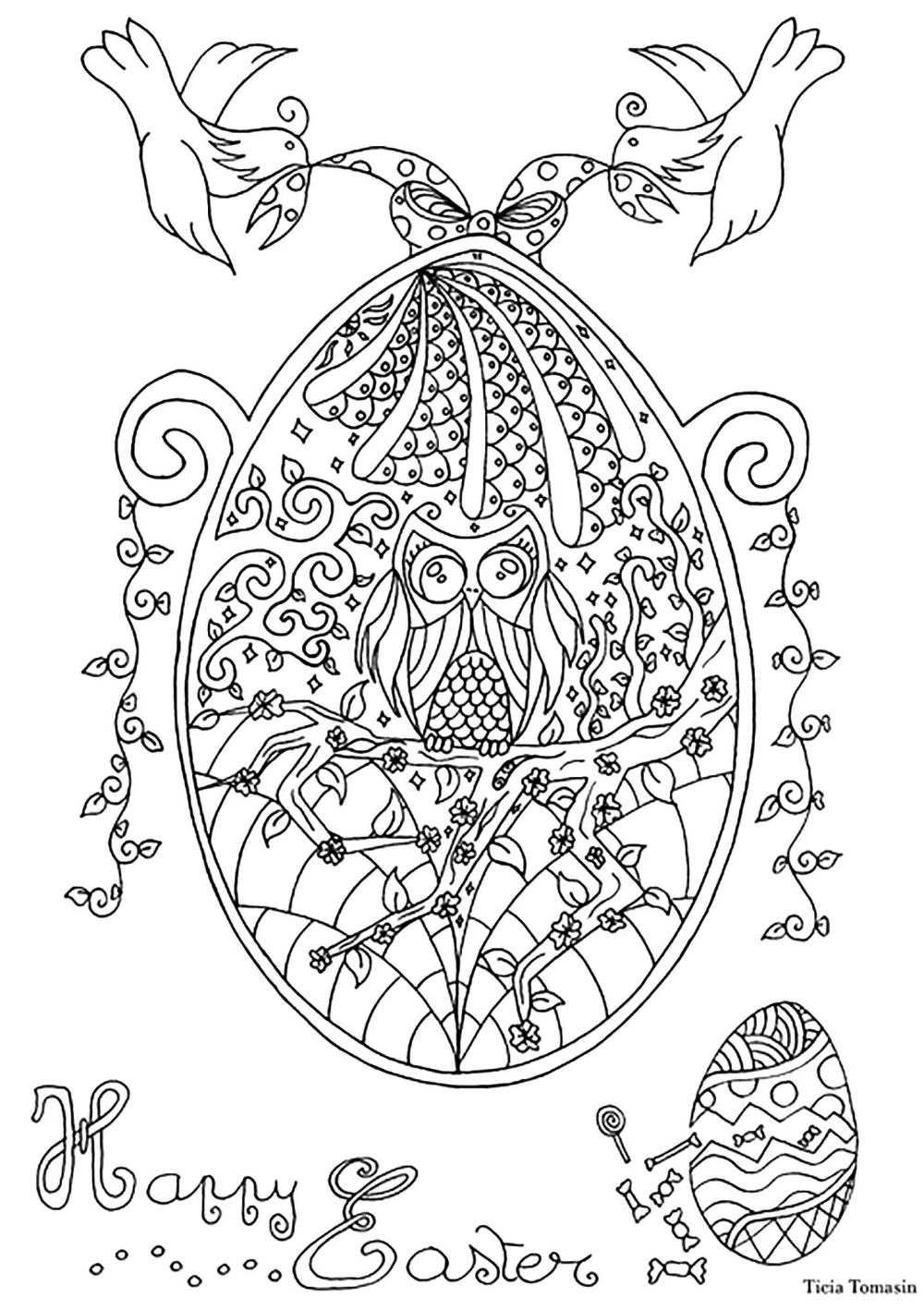 Easter Egg With Owl And Swallows Easter Colouring Owl Coloring Pages Easter Coloring Pages