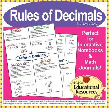 Rules Of Decimals Lesson Freebie With Guided Notes  Tutoring