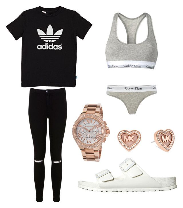 """""""Spring Casual Outfit"""" by kenzieshae-1 on Polyvore featuring adidas Originals, Miss Selfridge, Birkenstock, Calvin Klein and Michael Kors"""