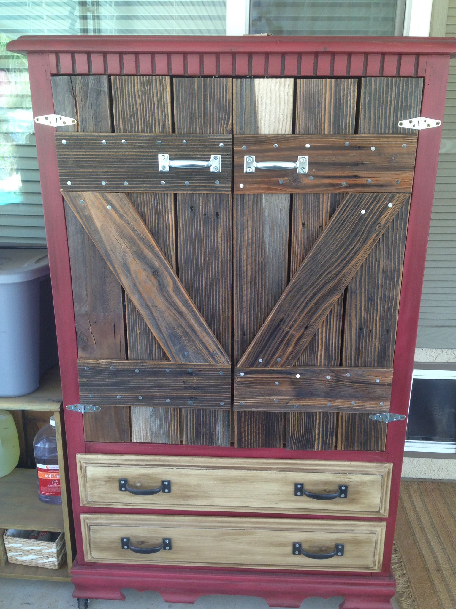 A 10 00 Yard Sale Armoire I Made Barn Doors For The Front