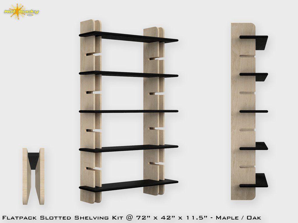 Flat Pack Slotted Modern Bookshelf Kit Modern Bookshelf Flat
