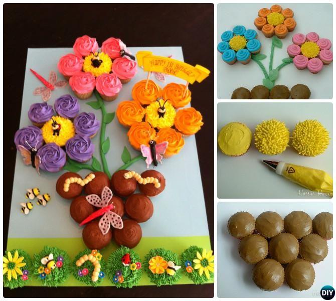 20 DIY Gorgeous Pull Apart Cupcake Cake Design Ideas | Pull apart ...