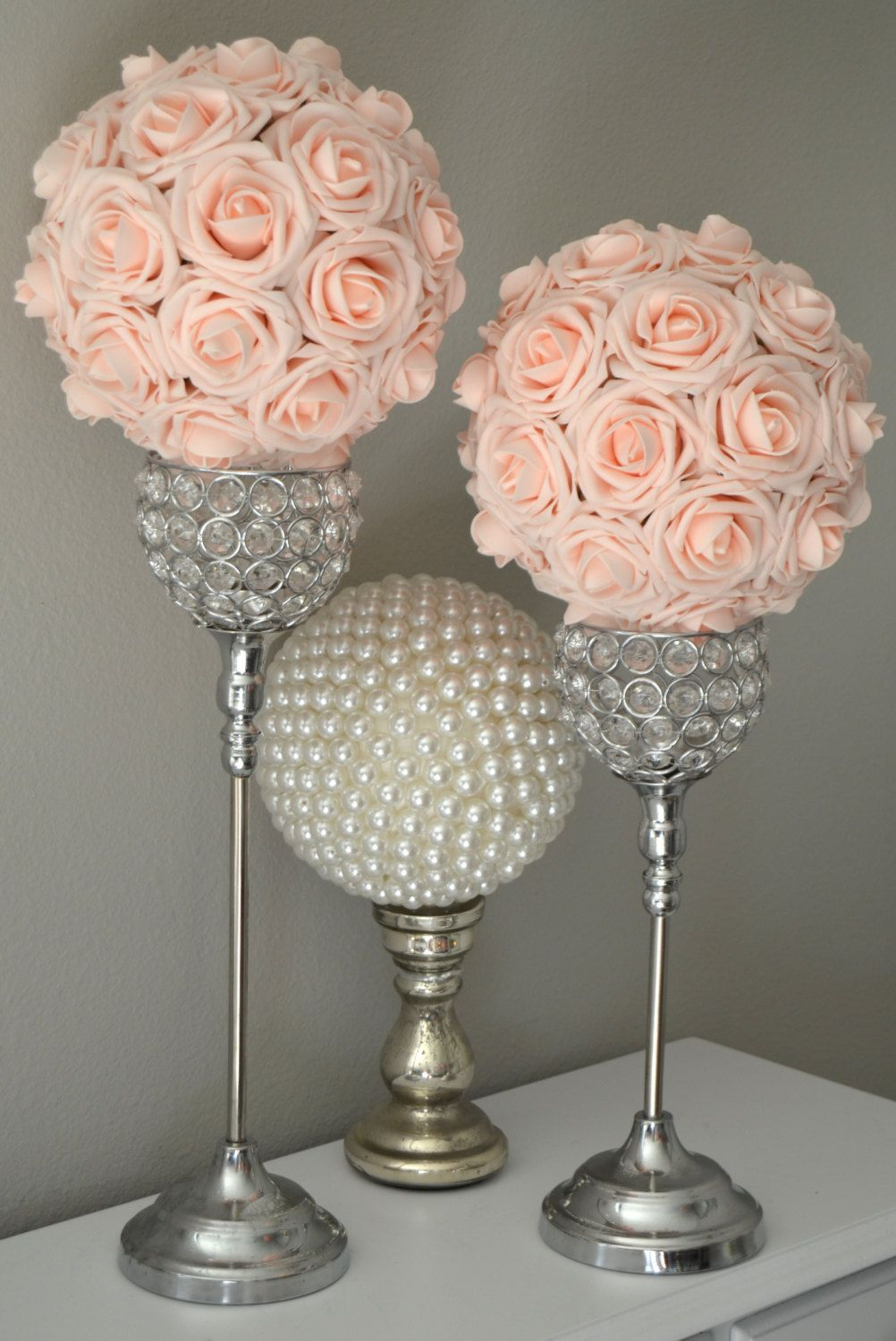 Pink Blush Kissing Ball Wedding Centerpiece Pink Blush Wedding Flower Ball Pomander F Blush Wedding Centerpieces Blush Wedding Flowers Blush Bridal Showers