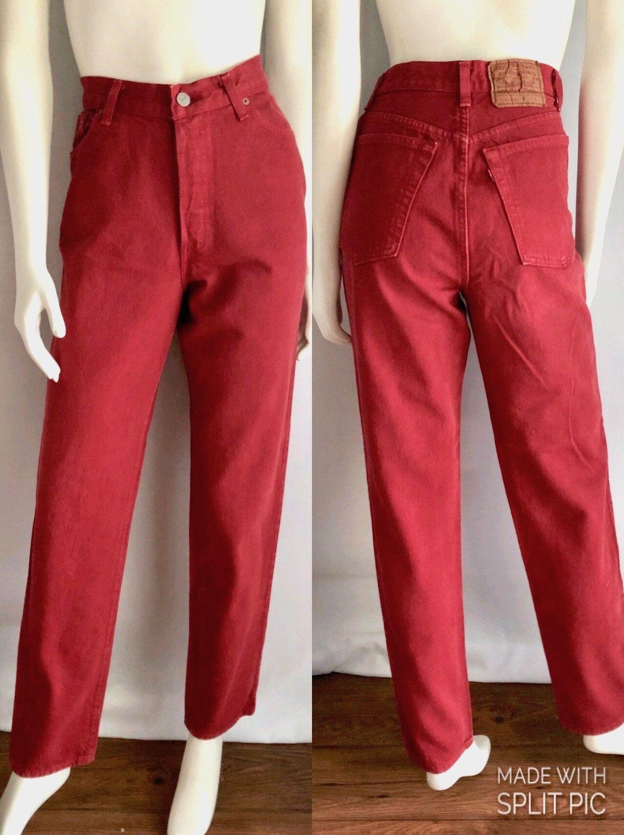 e78b30c3 Vintage Women's 80's Red, Levi's 501, Jeans, High Waisted, Straight Leg,  Denim (L) by Freshandswanky on Etsy