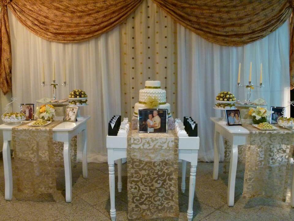 Mesa De Dulces Bodas De Oro Aniversario De Casamento Bodas Decoracao
