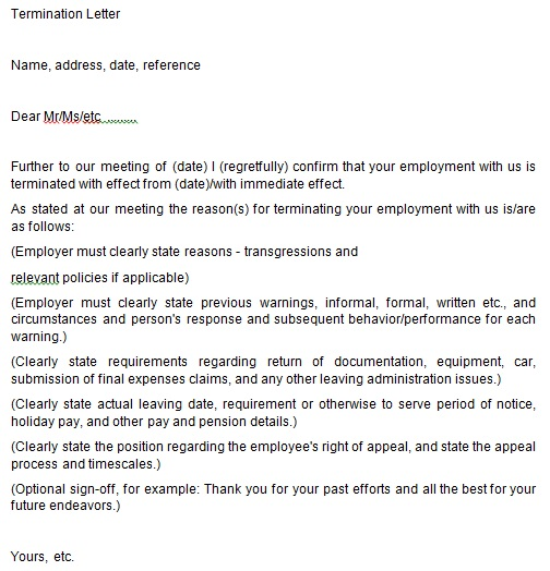 Free Termination of Employment Letter Templates [Word, PDF