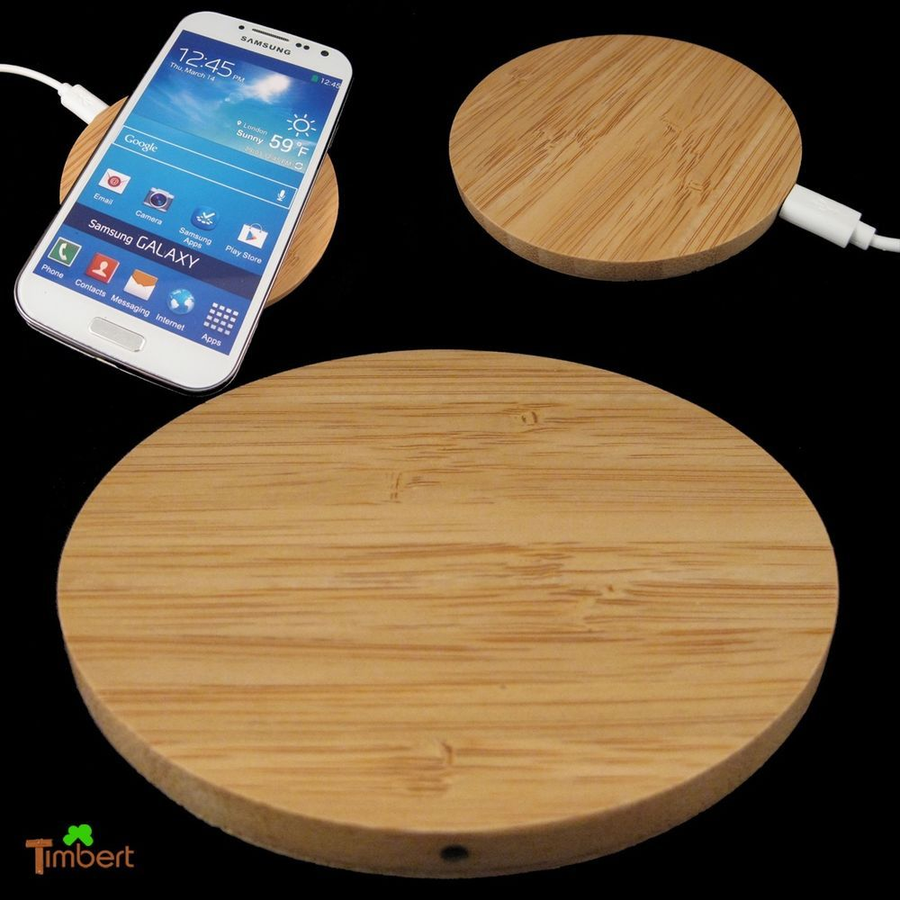 Details zu QI WIRELESS CHARGER PAD Ladegerät Rund HOLZ Kabelloses ...