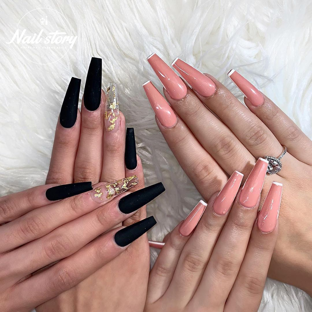 Nail Story Of Chino Hills On Instagram Gel X Baby Gel X Long Coffin Ma In 2020 Long Square Acrylic Nails Gold Acrylic Nails Black Acrylic Nails