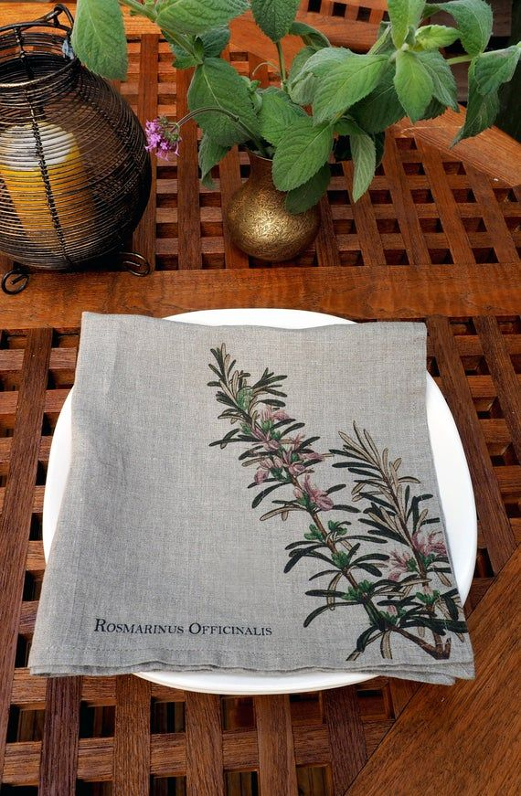 Washed Linen Napkins with Herbal Print, Rosemary Print Cloth Napkins, Herbal Farmhouse Table Decor, #clothnapkins