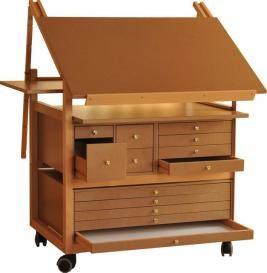 Chevalet de peinture bois et Table a dessin | Meuble atelier d\'art ...
