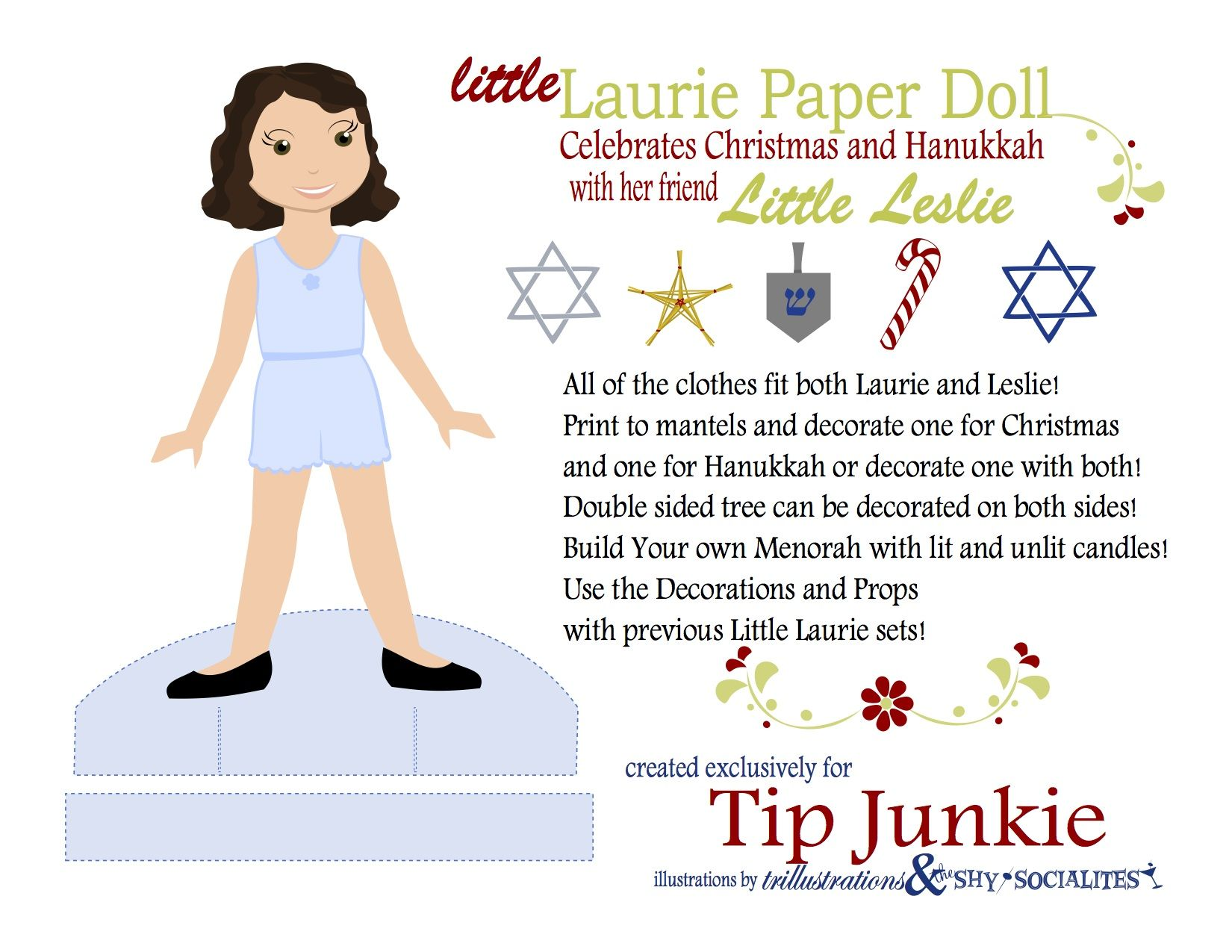 Holiday Leslie Paper Doll