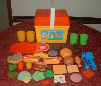 Vintage fisher price 1985 picnic basket set pretend play - Cuisine bilingue fisher price ...