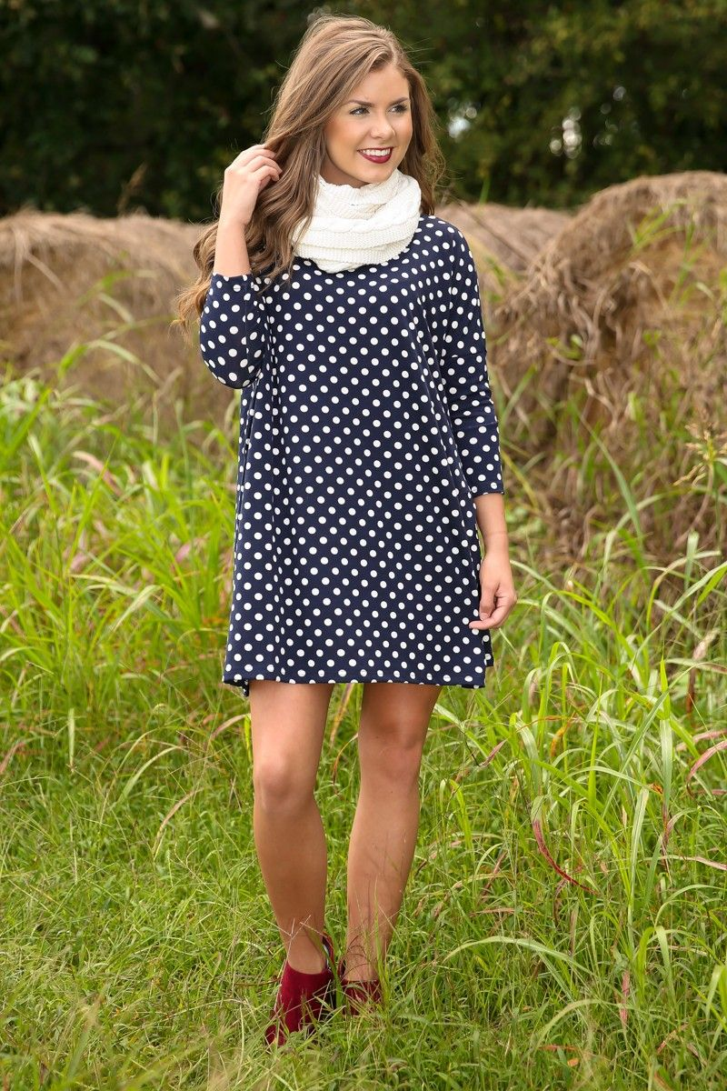 I Dot Think So Tunic-Navy - Shop By Outfit | The Red Dress Boutique