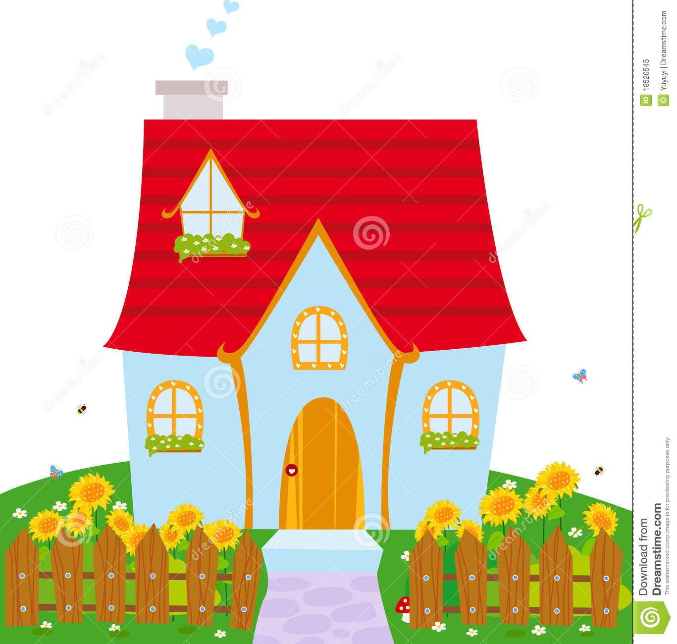Illustration About Illustration Of A Cute Little House Illustration Of Cartoon Colorful Meadow 18520 Cute House Cute Little Houses Free Stock Photos Image