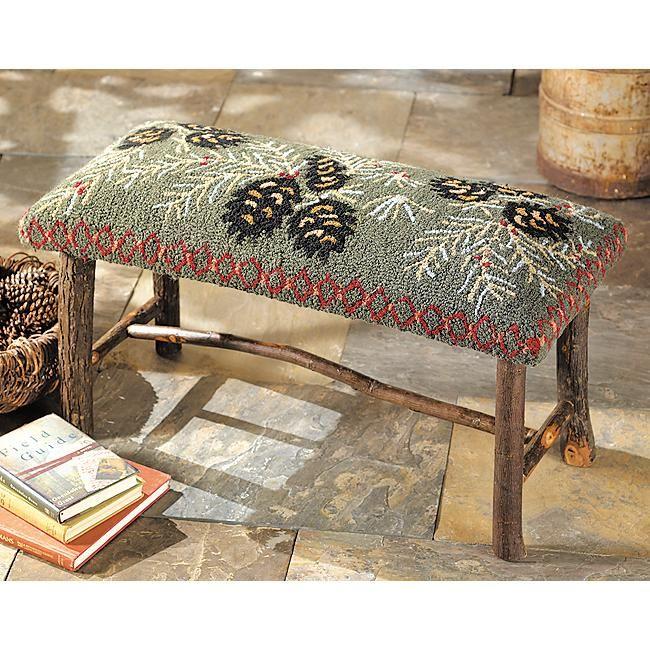 Moose Rug Hooking Kit: Hooked Wool Pinecone Bench